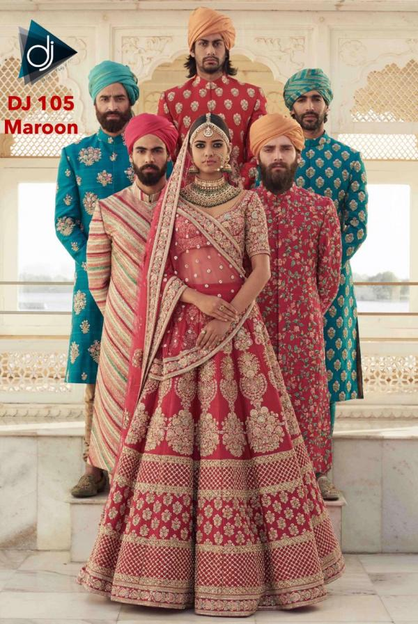 DJ 105 Maroon Bridal Wear Lehenga Choli