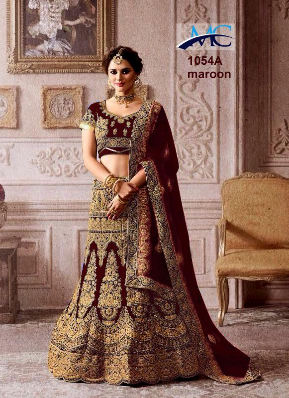 MC 1054 Velvet Wedding Wear Lehenga Choli