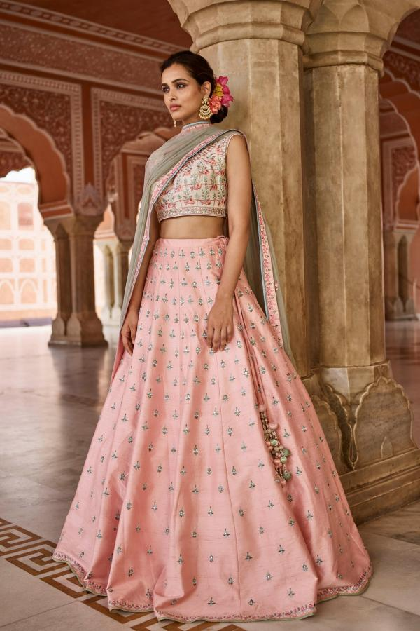 PC 28 Light Orange Creem Lehenga Choli