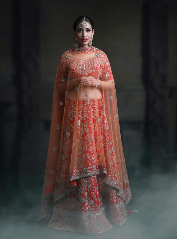PC 41 Designer Orange Bridal Lehenga Choli