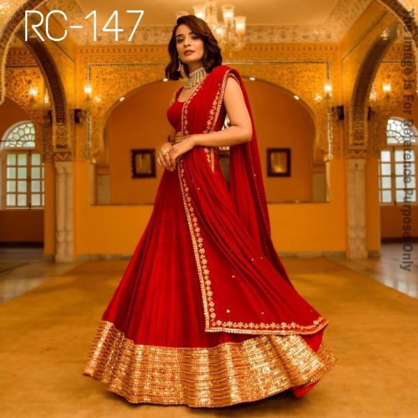 RC 147 Designer Red Silk Lehenga